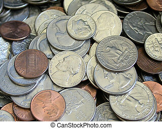American Coins - piles of american coins