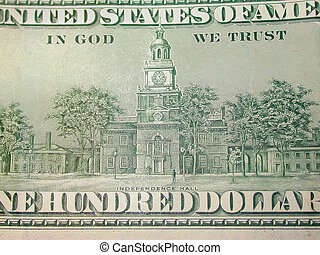 One Hundred dollars - the back of an american one hundred...