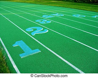 Numbered lanes on Running Track...