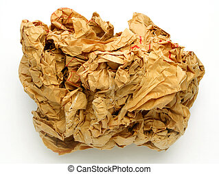 Crumpled Paper Ball - Crumpled paper ball against white...