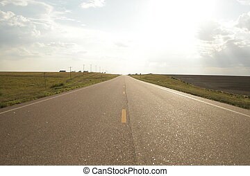 Wide Open road - Wide open road in Wyoming. Shot in late...