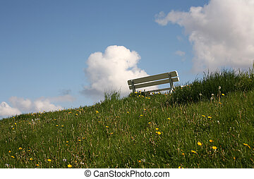 Resting place - Bench on a dyke at the north sea