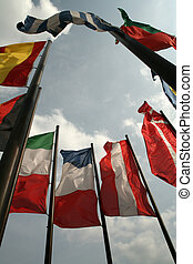 International flags - Ring of flags, blowing in the wind