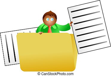 folder man - business man searching inside a folder for a...