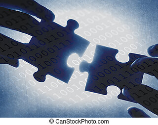 digital contact - hands trying to fit two puzzle pieces...