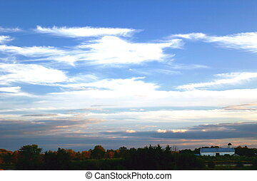 End of an Amish Day - Amish barn and evening sky
