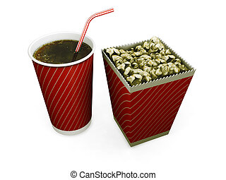 Soda and popcorn - 3D render of a carton of popcorn and a...