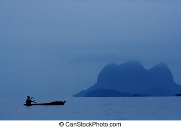 People Rowing Boat - People rowing boat at Semporna, Sabah,...