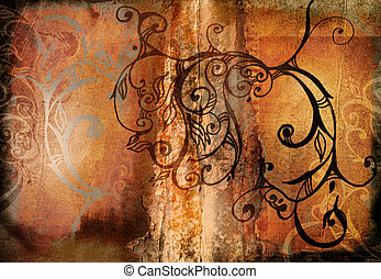 grunge swirls book spread - orange burnt edge book spread...