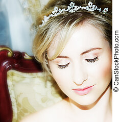 Young bride face close-up - Young bride with dreamily closed...
