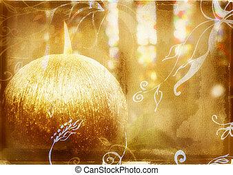 grunge burning candle - round gold candle on grunge...