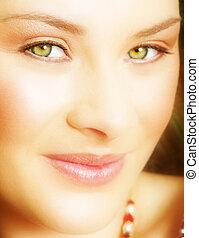 mulher, verde, olhos
