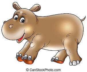 przedimek określony przed rzeczownikami, hipopotam