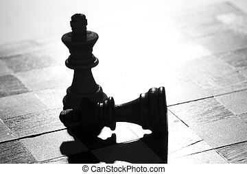 Victory - Two pieces of chess, one has won against the other