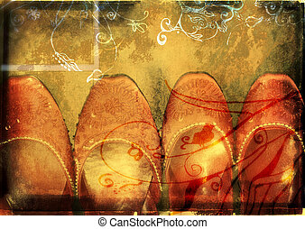 grunge book spread with red shoes - orange burnt edge book...