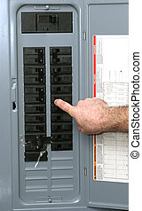 Electrical Panel - A closeup of an electrical panel with an...