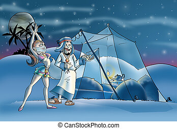 harem - Arabian guy and girl goin to tent
