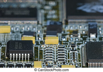 Chips formation - Macro perspective shot of motherboard...