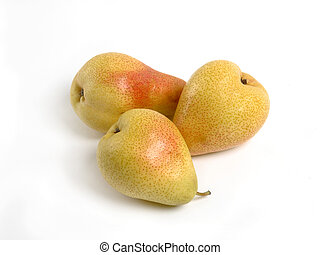 Yellow pear and green apple on white background
