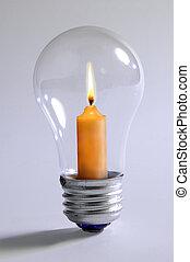 lumière, ampoule, &, bougie