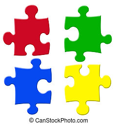 Basic colors jigsaw puzzle pieces