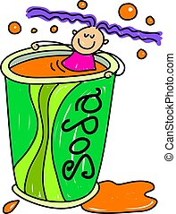soda kid - little girl who enjoys soda drinks - toddler art...