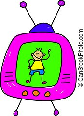 kid on the box - little boy on the television waving -...