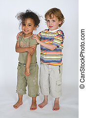 United Colors - A beautiful mixed race girl and a blonde boy...