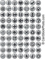 Web Icons in Silver - Computer generated web icons