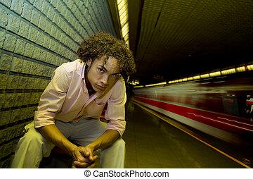 underground station - train moving fast in an underground...