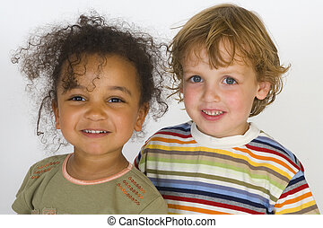 Friends Together - A beautiful mixed race girl and a blonde...