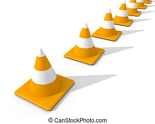 Line of Traffic Cone - 3D rendered Illustration. Isolated on...
