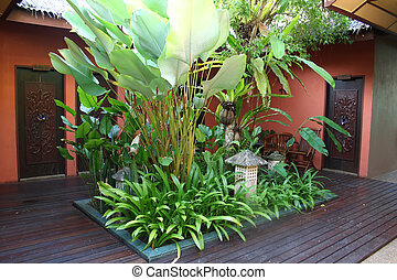 Bali courtyard - Bali-style courtyard, with plants