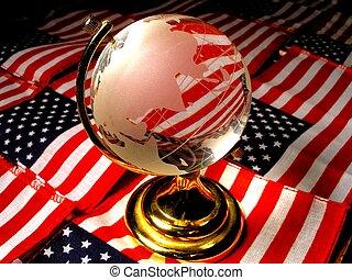Global America - A globe with american background.