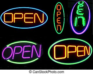 Neon Open Signs - Five neon open signs- horizontal ones at...