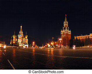 Blessed Vasilys temple and Kremlin in Moscow - Russia The...