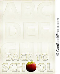 Back to School background, parchment, with alphabet