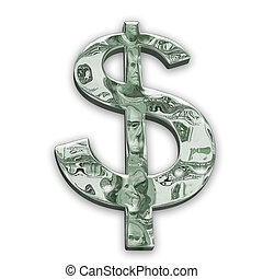 lustroso, dólar, sinal