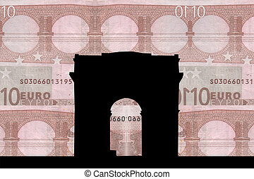 Arc de triomphe against ten euro note collage