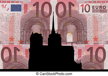 Notre Dame against ten euro note collage