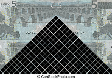 Louvre pyramid against five euro collage