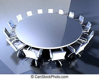 Round metal Table - 3D rendered illustration