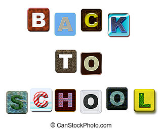 Back to School colorful text, isolated