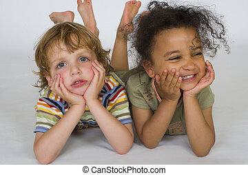 Happy and Sad - A beautiful mixed race girl and a blonde boy...
