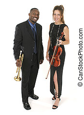 Two Musicians 1 - A beautiful female violinist and a...