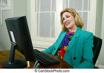 Beautiful Business Woman Approving Work