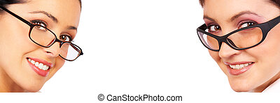 business woman blank with copy-space Isolated over white...