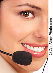 Call Center Agent - Young beautiful smiling Call Center...