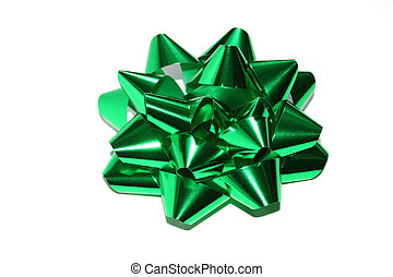 Green bow ribbon - Isolated gift foil ribbon