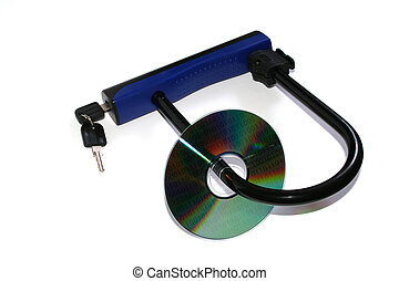 Data security - CD locked in a padlock with binary code...